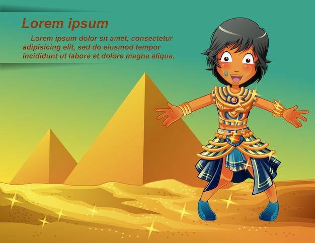 Egyptenaren karakter op piramides achtergrond. Premium Vector