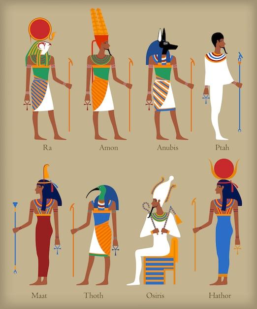Egyptische goden pictogrammen Premium Vector