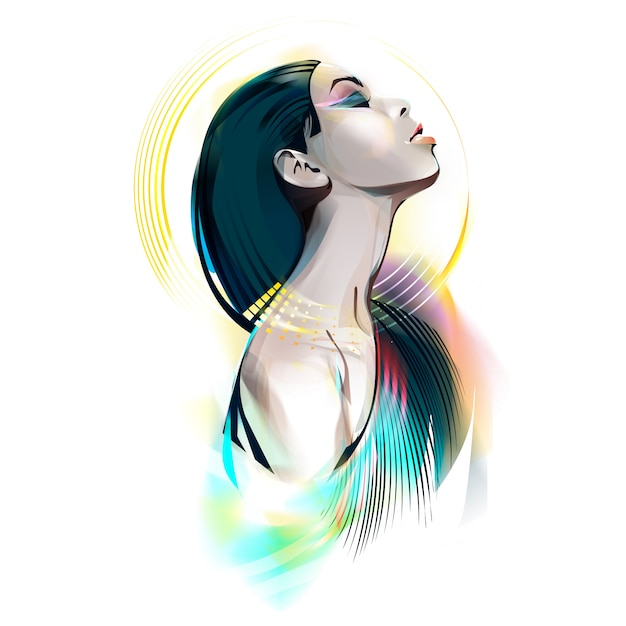 Egyptische godin. portret van een vrouw Premium Vector