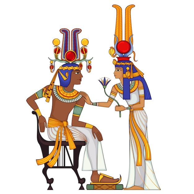 Egyptische hiëroglief en symbool oude cultuur Premium Vector