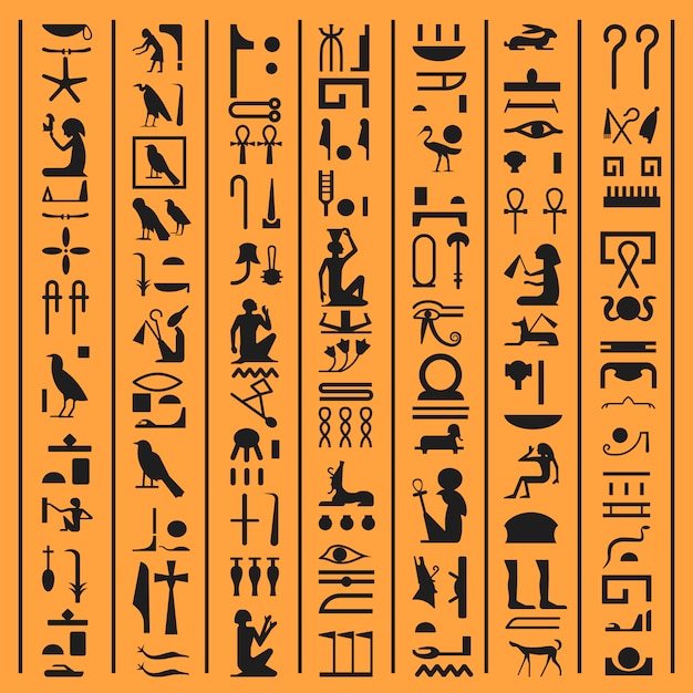 Egyptische hiërogliefen of oude egypte brieven papyrus achtergrond. vector oude egyptische hiëroglief het schrijven van symbolen en iconen van goden, dieren en vogels of pharao manuscript ontwerp decoratie Premium Vector