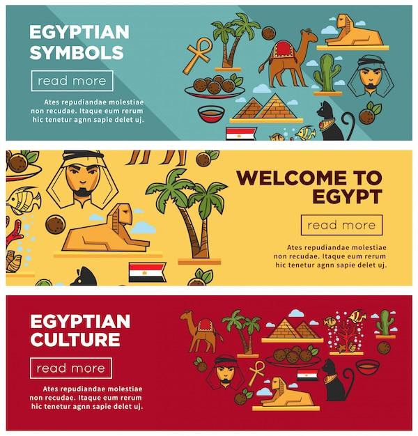Egyptische symbolen en cultuur promotionele internet banners instellen Premium Vector