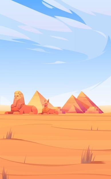 Egyptische woestijn met piramides, sfinx en anubis Gratis Vector