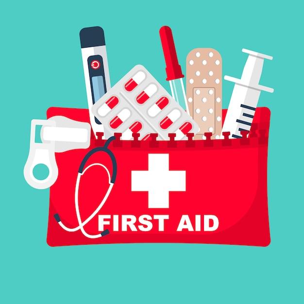 Ehbo doos. medische apparatuur en medicijnen. Premium Vector