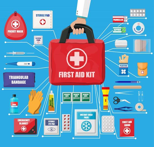 Ehbo-doos met medische apparatuur Premium Vector