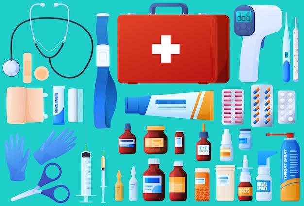 Ehbo-doos, stethoscoop, verband, injecties, pillen, druppels, ampullen, medicijnen, steriele handschoenen. Premium Vector