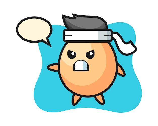 Ei cartoon illustratie als een karatevechter, schattig stijlontwerp voor t-shirt, sticker, logo-element Premium Vector
