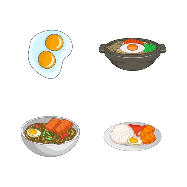 Ei voedsel element ingesteld. beeldverhaalreeks vectorelementen van het eivoedsel Premium Vector