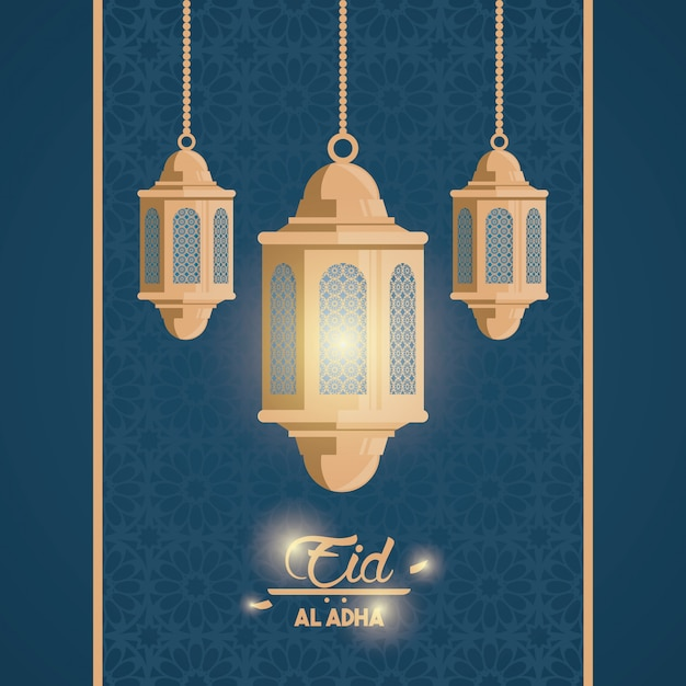 Eid al-adha-feest van de moslim Gratis Vector