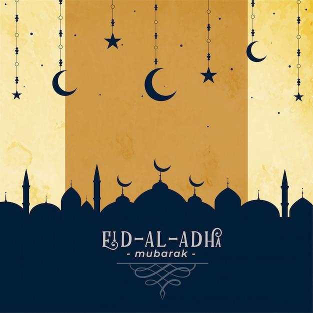 Eid al adha groet met moskee en maanster Gratis Vector