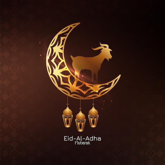 Eid al adha mubarak islamitische achtergrond met halve maan Gratis Vector