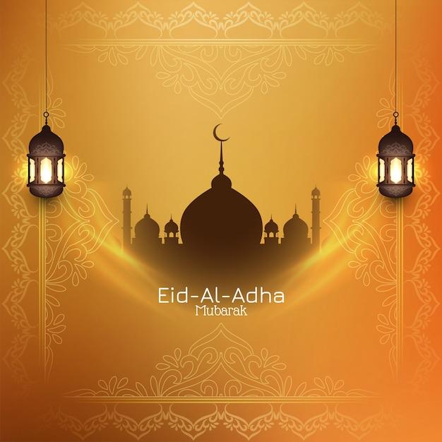 Eid-al-adha mubarak islamitische achtergrond met moskee Gratis Vector