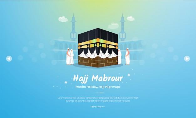 Eid al adha mubarak met hadj mabrour op kaaba illustratie concept Premium Vector