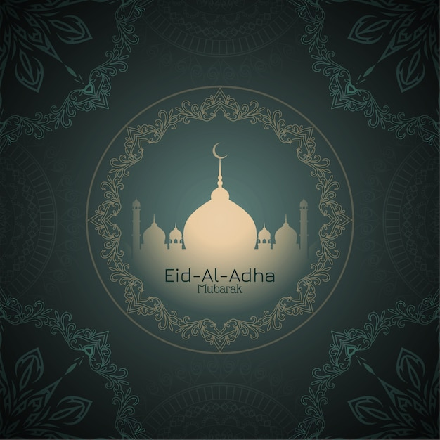 Eid-al-adha mubarak mooie begroetingsachtergrond Gratis Vector