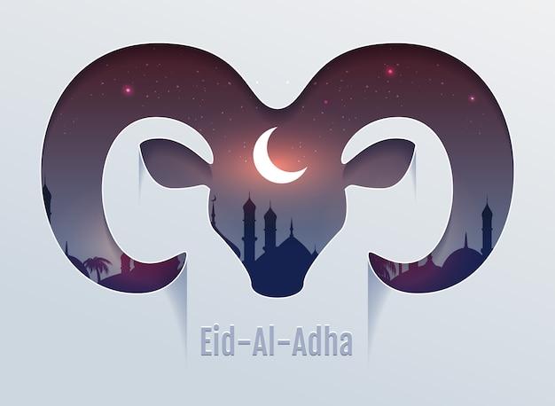 Eid al adha offerfeest. hoofd van ram silhouet, minaret en maan in de nachtelijke hemel Premium Vector