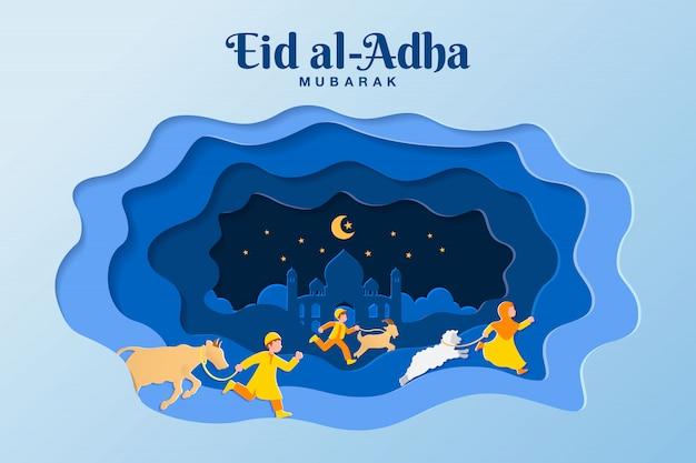 Eid al-adha wenskaart concept illustratie in papier gesneden stijl met kinderen brengen geit, schapen en vee voor opoffering Premium Vector