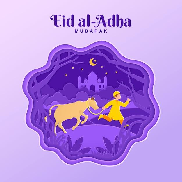 Eid al-adha wenskaart concept illustratie in papier gesneden stijl met moslimjongen brengen vee voor opoffering Premium Vector