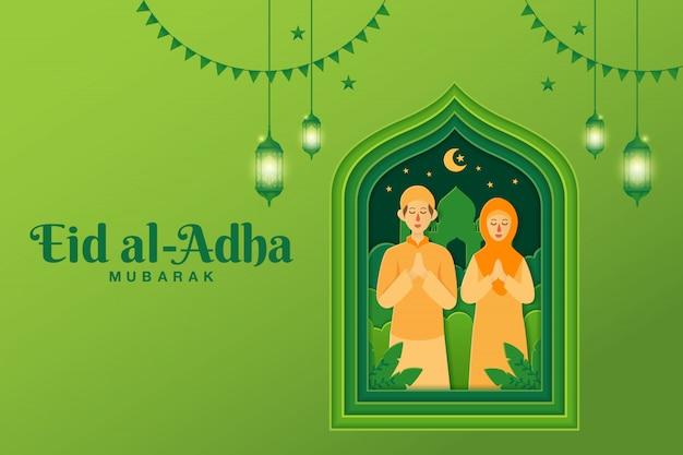 Eid al-adha wenskaart concept illustratie in papier knippen stijl met cartoon moslim paar eid al-adha zegen Premium Vector