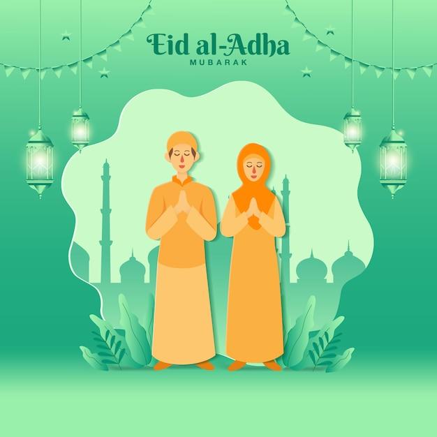 Eid al-adha wenskaart concept illustratie in papierstijl knippen met cartoon moslim paar zegen eid al-adha met moskee Premium Vector