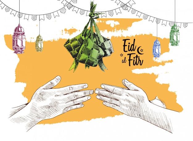 Eid al fitr free hand drawing schets van ketupat Premium Vector