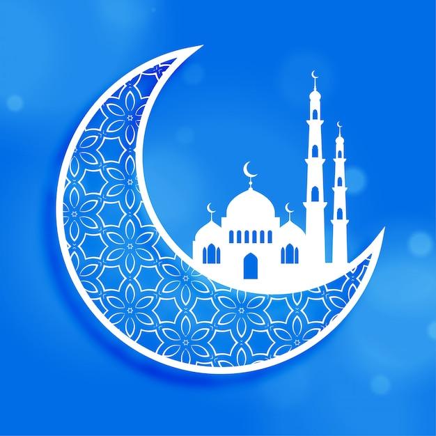 Eid-festivalmaan en moskeeachtergrond Gratis Vector