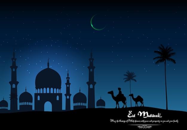 Eid mubarak-achtergrond met arabische berijdende kameel en moskee op nacht Premium Vector