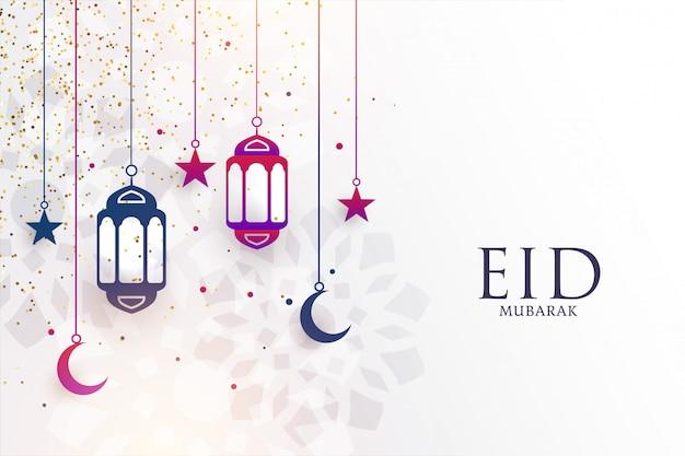 Eid mubarak festivalgroet met lampen en maan Gratis Vector