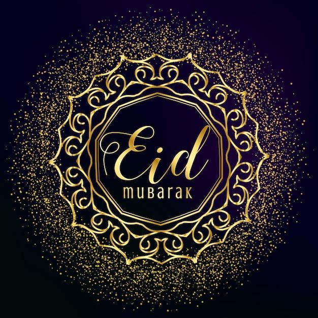 Eid mubarak groetje met gouden mandala decoratie en glitter Gratis Vector