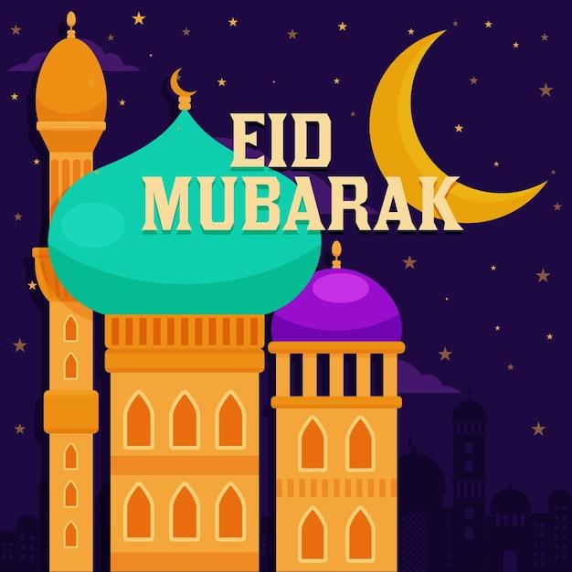 Eid mubarak met platte ontwerpmaan over moskee Gratis Vector