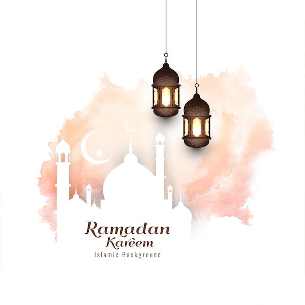 Eid mubarak moderne islamitische achtergrond Gratis Vector