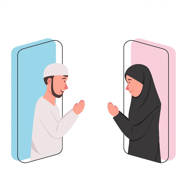 Eid mubarak video call concept Premium Vector