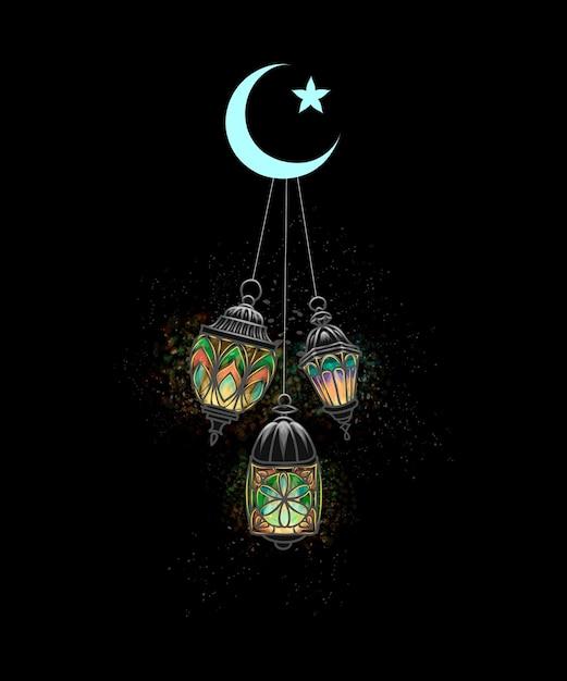 Eid mubarak-viering. islam, lantaarn fanus. het moslimfeest van de heilige maand ramadan kareem. verlichte arabische lamp. illustratie Premium Vector