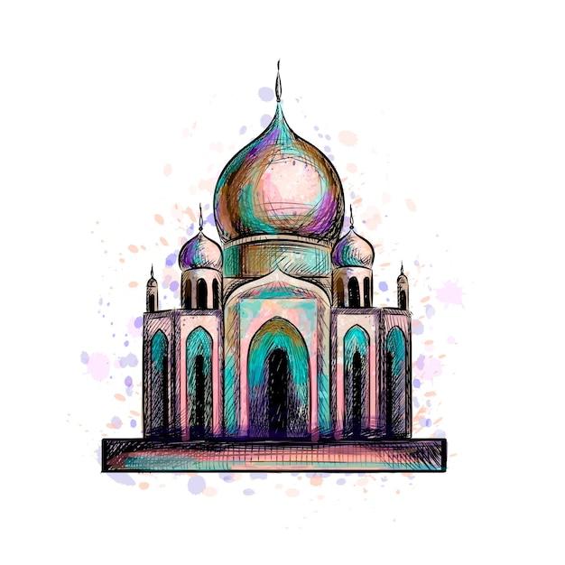 Eid mubarak-viering. islam, ramadan kareem. moslimmoskee, architectuurobject. oosters cultureel monument. illustratie Premium Vector