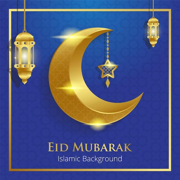 Eid mubarak-wenskaart Premium Vector