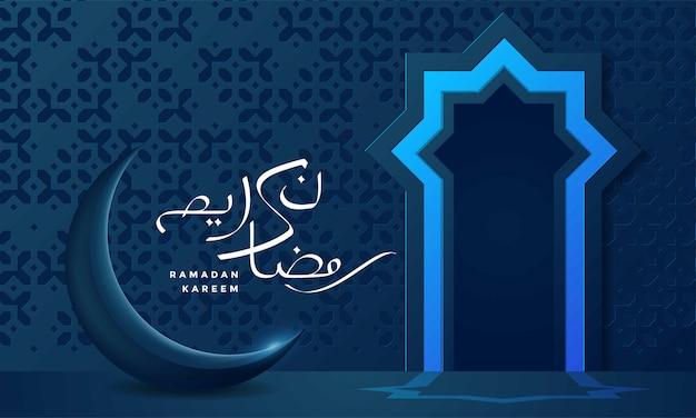 Eid mubarok islamitische wenskaart met maan Premium Vector