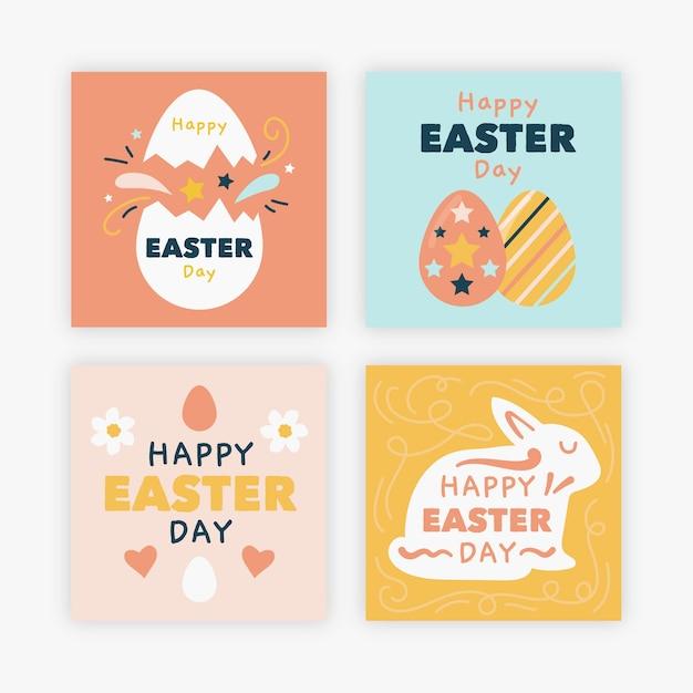 Eieren en konijnen pasen instagram post collectie Gratis Vector