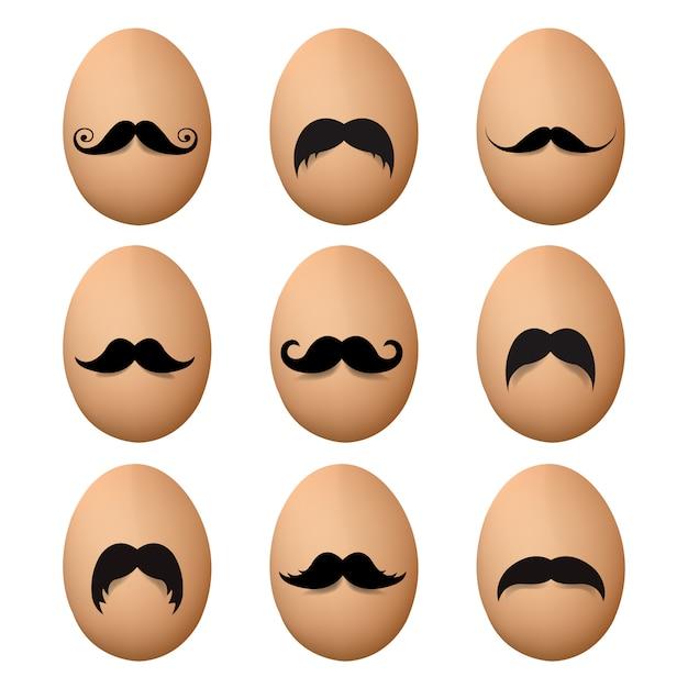 Eieren met snor grote reeks Premium Vector