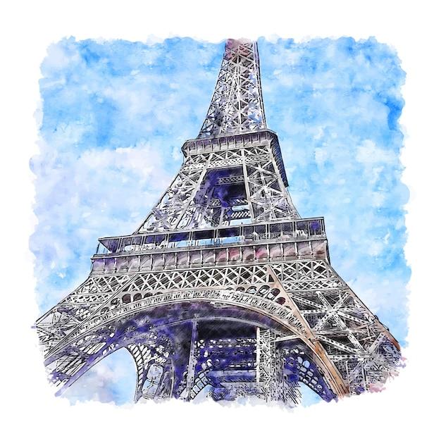 Eiffeltoren parijs frankrijk aquarel schets hand getrokken Premium Vector