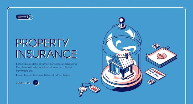 Eigendom verzekering isometrische bestemmingspagina. onroerend goed gebouw staan onder glazen koepel met sleutels, notities. service tegen ongevallen thuis Gratis Vector