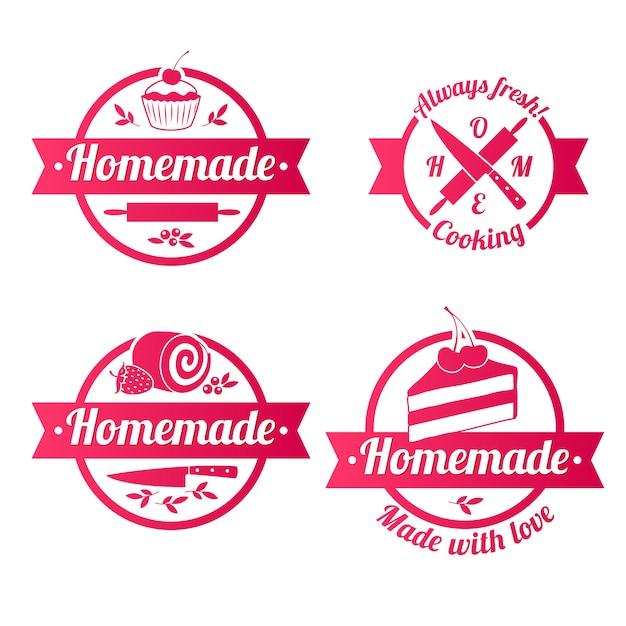 Eigengemaakte snoepjes rode etikettenkentekens met geplaatste linten. Premium Vector