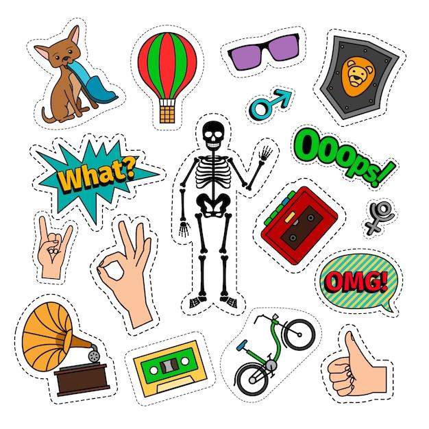 Eigenzinnige kleurrijke retro stijlstickers met skelet, fiets, kat, luchtballon, en handtekens. Premium Vector