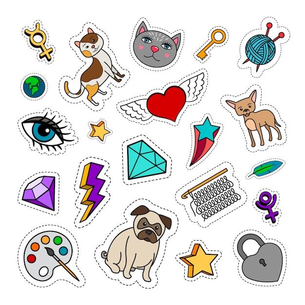 Eigenzinnige mode-patches met dieren, ruit, hart en sleutel. vector stickers collectie Premium Vector