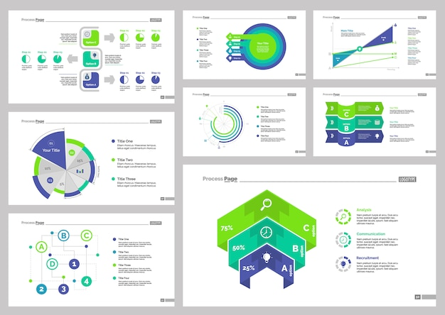 Eight statistics slide templates set Gratis Vector