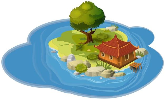 Eilandconcept, voor computerspellen en toepassingen, hut, derv, rots, overzees, kaart, banner, vector, illustratie Premium Vector