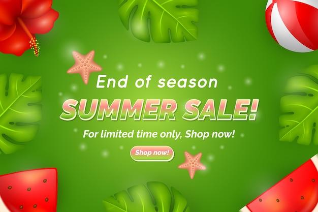 Einde seizoen zomer verkoop bestemmingspagina sjabloon Gratis Vector