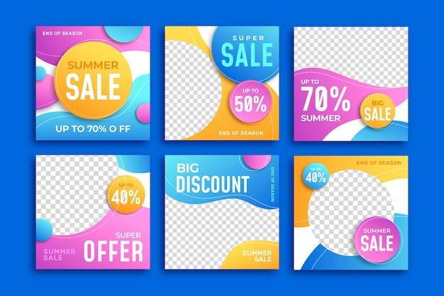 Einde seizoen zomer verkoop instagram berichten Gratis Vector
