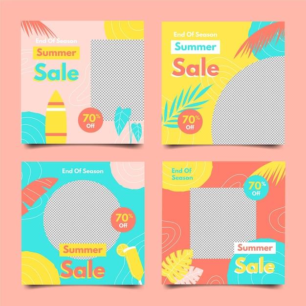 Einde seizoen zomer verkoop instagram post collectie Gratis Vector