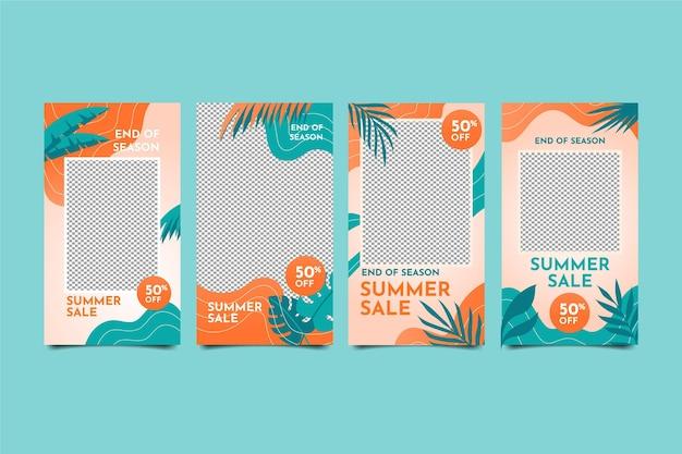 Einde seizoen zomer verkoop instagram verhalencollectie Gratis Vector