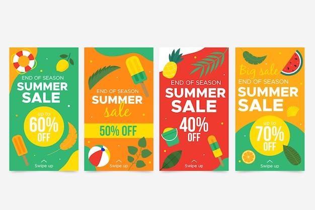 Einde seizoen zomer verkoop instagramverhalen Gratis Vector