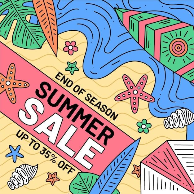 Einde seizoen zomer verkoop thema Gratis Vector